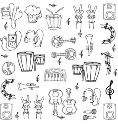 Doodle of music tools stock collection vector