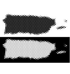 Dot halftone puerto rico map vector