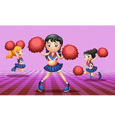 Energetic cheerdancers with red pompoms vector image