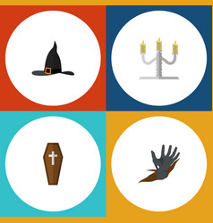 flat icon halloween set of casket zombie vector image vector image
