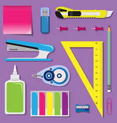 flat set of stationery on the table vector image