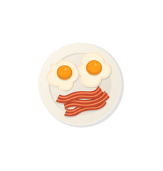 fried eggs with bacon breakfast isolated cetor vector image