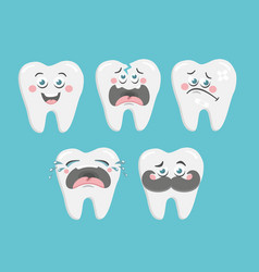 Funny collection of cartoon teeth art vector