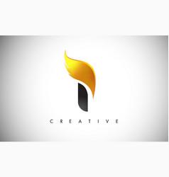 Gold i letter wings logo design with golden bird vector