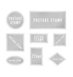 gray postal stamp template collection with shadow vector image