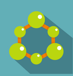 Green molecule structure icon flat style vector