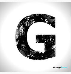 grunge letter g black font sketch style symbol vector image