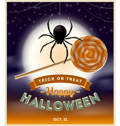 Halloween spider with lollipop candy and type vector