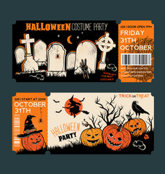 Halloween tickets template place for your text vector