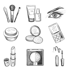 Hand drawn makeup icons vector