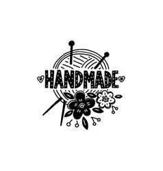 Handmade logo craft knitted product vector
