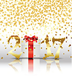 Happy New Year background with gift vector image
