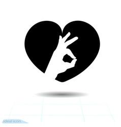 heart black icon love symbol ok icon in heart vector image
