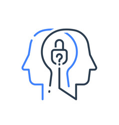 Human head profile and padlock psychology vector