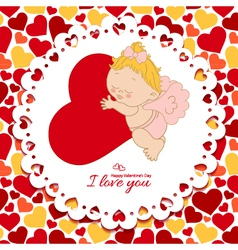 I love you card with cupid and hearts vector image