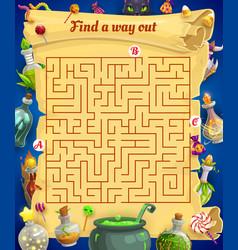 Kids labyrinth maze with halloween treats vector