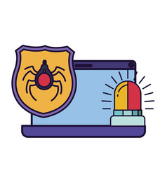laptop screen with shield and siren on icon vector image