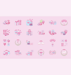 Love and happy valentines day icon set vector