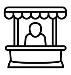 Man at street kiosk icon outline style vector