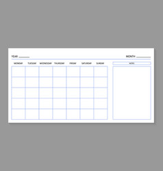 Month planner template blank calendar for 2021 vector