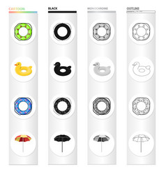 multicolored swimming circle cartoon icons in set vector image