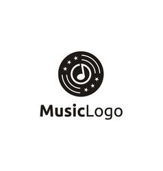 music notes cd vinyl stars record studio logo vector image