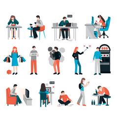 Obsessive habit characters set vector