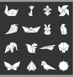 Origami icons set grey vector
