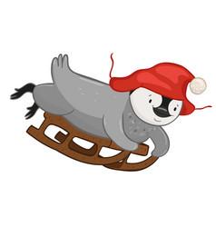 penguin sledding isolated on a white background vector image