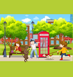 people and their pets in park vector image