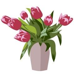 Pink tulips vector