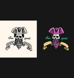 Pirate skull logo jolly roger or corsair vector