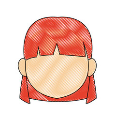 portrait girl little female kid person head vector image