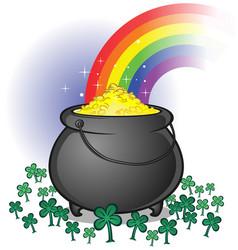 pot gold cartoon vector image