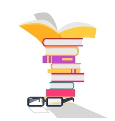 Reading Books Concept In Flat Design vector image
