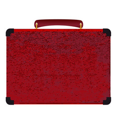 Red small suitcase on a white background vector