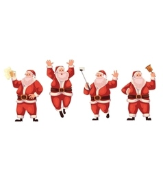 Santa Claus jumping ringing a bell making selfie vector image