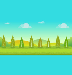 seamless cartoon nature landscape unending vector image