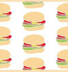 Seamless pattern fast food cartoon burger vector
