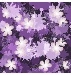 Seamless violet flower pattern background vector image vector image