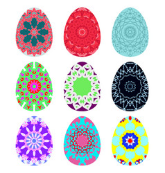 set of bright colorful eggs decorated with vector image