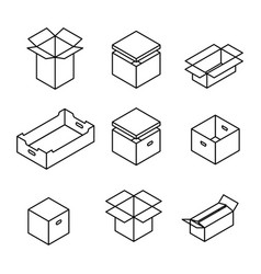 set of cardboard boxes from thin lines vector image