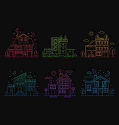set of gradient line urban and suburban houses vector image