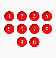 Set of numbers from 0 to 9 with a round red shape vector