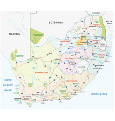 south africa road administrative and political vector image