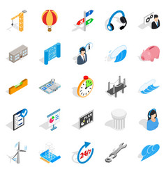 Streetlight icons set isometric style vector