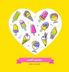 sweet summer - line design style banner vector image