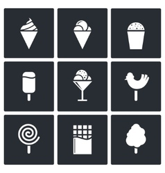 Sweets and ice cream icon set vector image