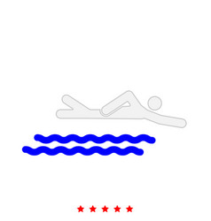 Swimming person stick it is icon vector