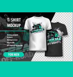 T-shirt template fully editable with atv off-road vector
